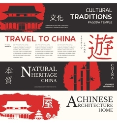China landscape banner china icon poster vector