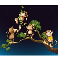A tree with four playful monkeys vector