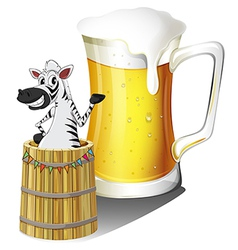 A zebra inside a wooden container with a glass of vector image