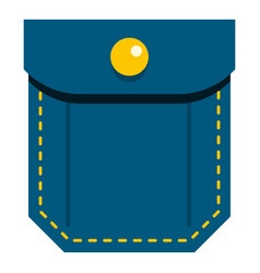 Blue pocket with yellow button icon isolated vector