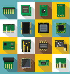 Computer chips icons set flat style vector