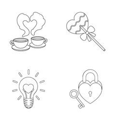 Cups with coffee valentine lamp lock with key vector