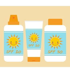 Cute bottles of sunscreen with different spf vector