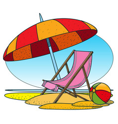 Deckchair and parasol on the beach color of a vector