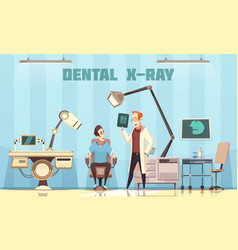 Dentist holding roentgen picture and patient vector