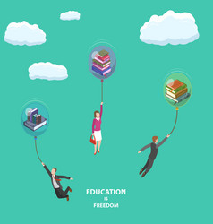 Education is freedom flat isometric low poly vector