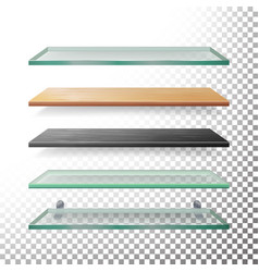 Empty glass and wood shelves template vector
