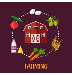 Farming infographic showing various crops vector