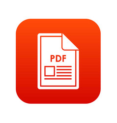 file pdf icon digital red vector image vector image