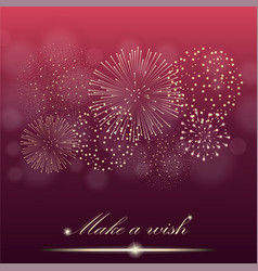 Firework show on ambient red blurred gradient vector