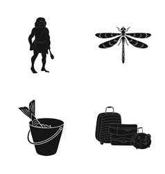Fish fishing delicacyand other web icon in black vector
