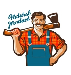 Funny cartoon carpenter or lumberjack vector