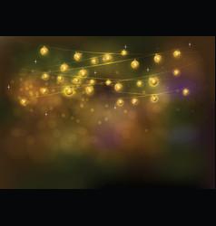 Gold line light on the background bokeh festive vector