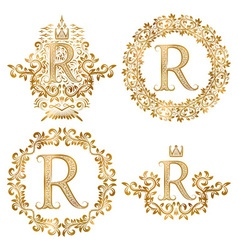Golden R letter vintage monograms set Heraldic vector image vector image