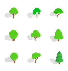 green tree icons isometric 3d style vector image