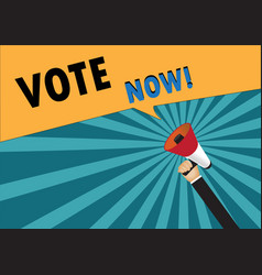 Hand holding megaphone to speech - vote now vector