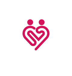 Heart icon logo relations symbol vector