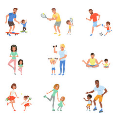 Kids with parents playing football tennis ping vector
