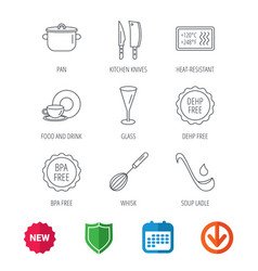 kitchen knives glass and pan icons vector image vector image