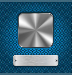 Metal square button and rivetted steel plate on vector