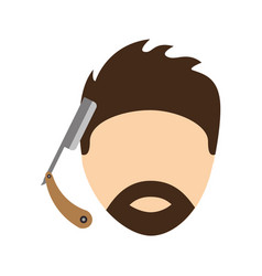 razor blade with male hair style vector image vector image