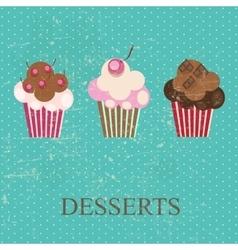 Retro vintage grunge style dessert menu vector image vector image