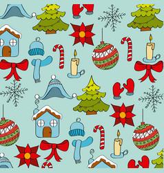 seamless pattern winter season icons decoration vector image