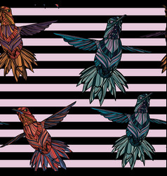 seamless pattern with hummingbird vector image vector image
