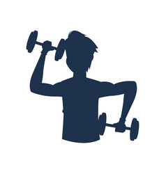 silhouette fitness man barbell workout vector image vector image