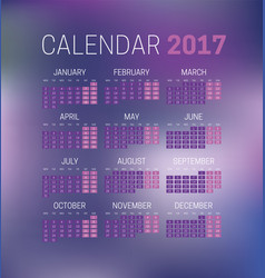 simple 2017 calendar with blurred background week vector image vector image
