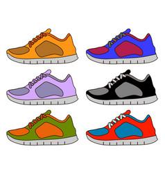 sneaker shoe minimal color flat line stroke icon vector image vector image
