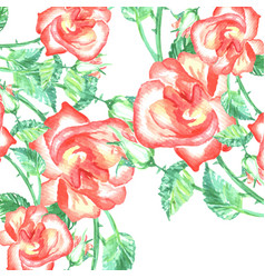 Spring romantic red roses background and green vector