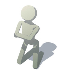 Stick man kneeling icon isometric style vector