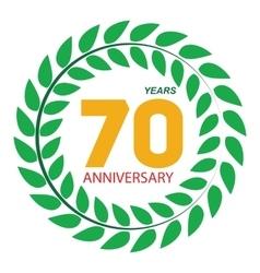 Template Logo 70 Anniversary in Laurel Wreath vector image vector image