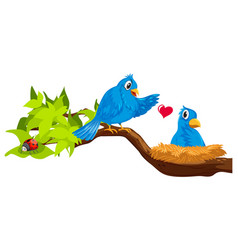 Two blue birds in nest vector