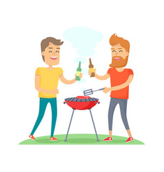 two man fried meat on barbecue friends forever vector image vector image