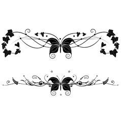 vignette set with butterfly vector image