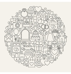 Wedding line icons circle vector