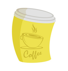 yellow curve coffee cup on a takeaway with an vector image