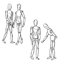Wooden mannequin art figurines in pairs vector