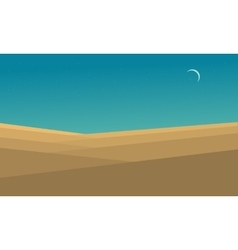 Desert landscape at night flat vector