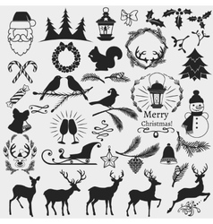 chrismas slhouettes collection vector image