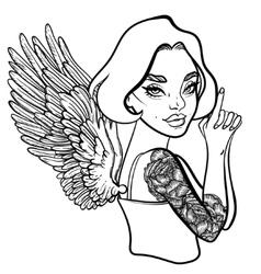 criminal beautiful girl with guns vector image
