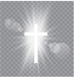 religioush three crosses with sun rays vector image
