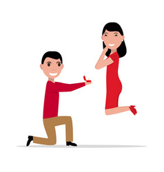 Cartoon proposal of marriage vector