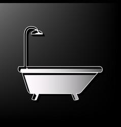 Bathtub sign  gray 3d printed icon on vector