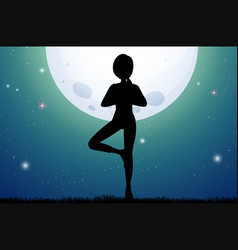 Silhouette woman doing yoga on fullmoon night vector