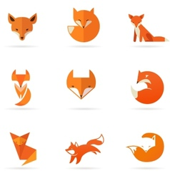 Fox icons and elements vector