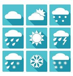 Blue square icons set of weather forecast vector