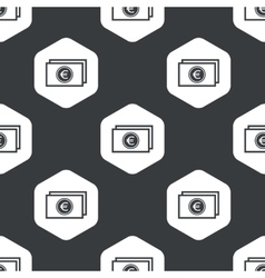 Black hexagon euro banknote pattern vector